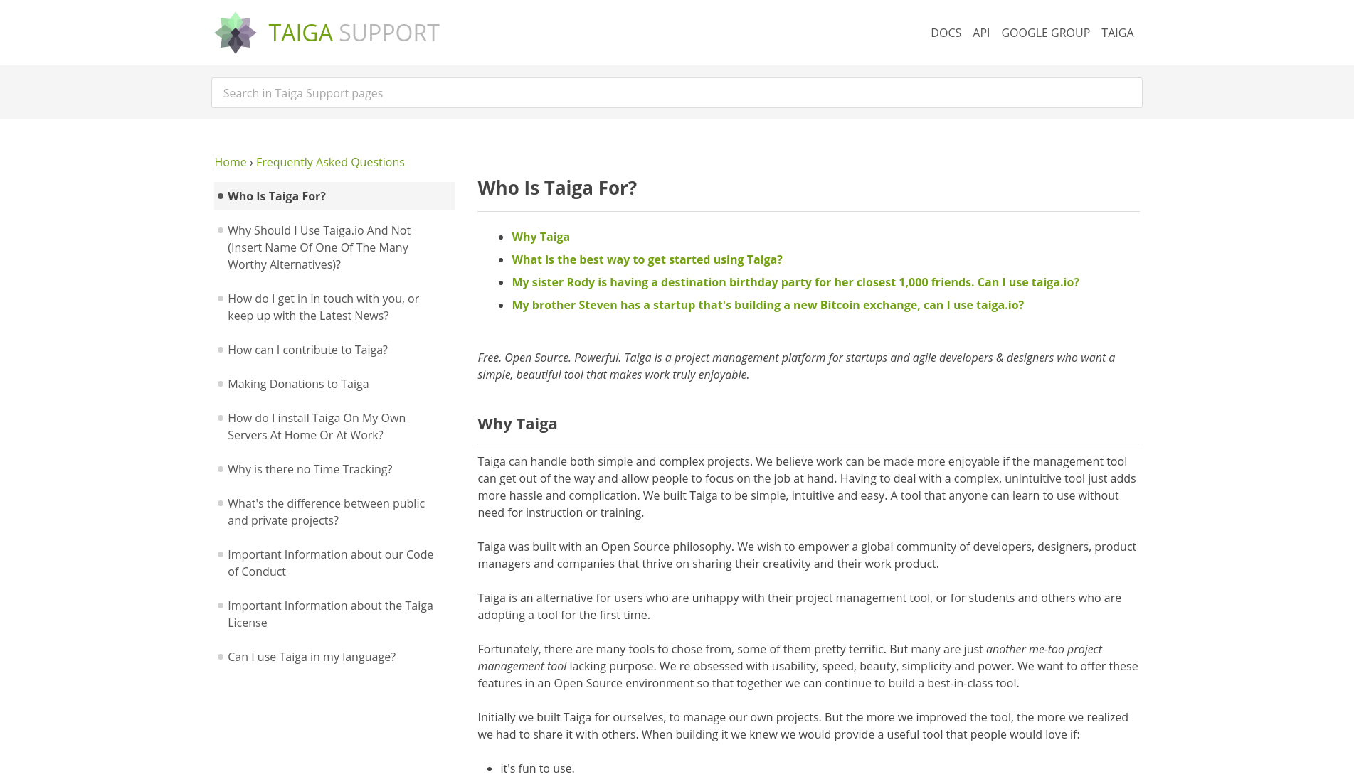 Taiga Support | Lektor Static Content Management System